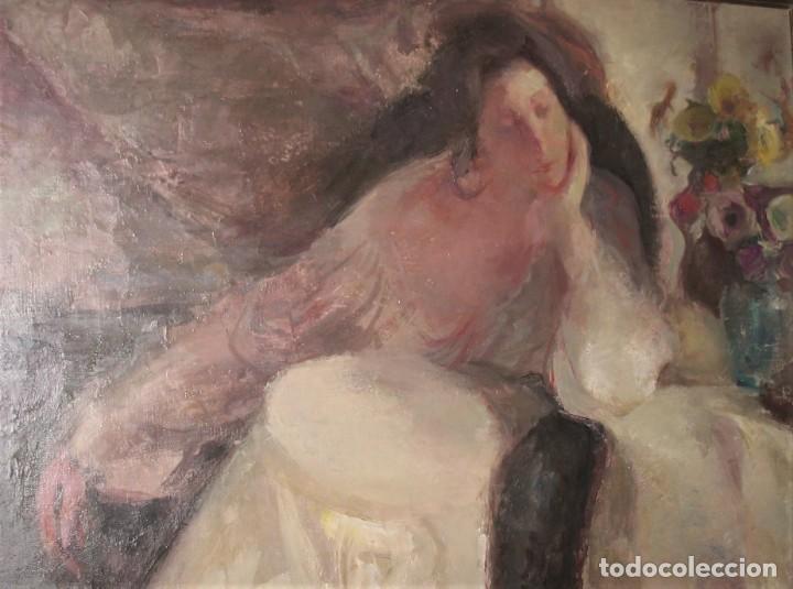 OLEO SOBRE LIENZO -MUJER CON BASTIDOR- POR JOAN BELTARN BOFILL [1939-2009] (Arte - Pintura - Pintura al Óleo Contemporánea )