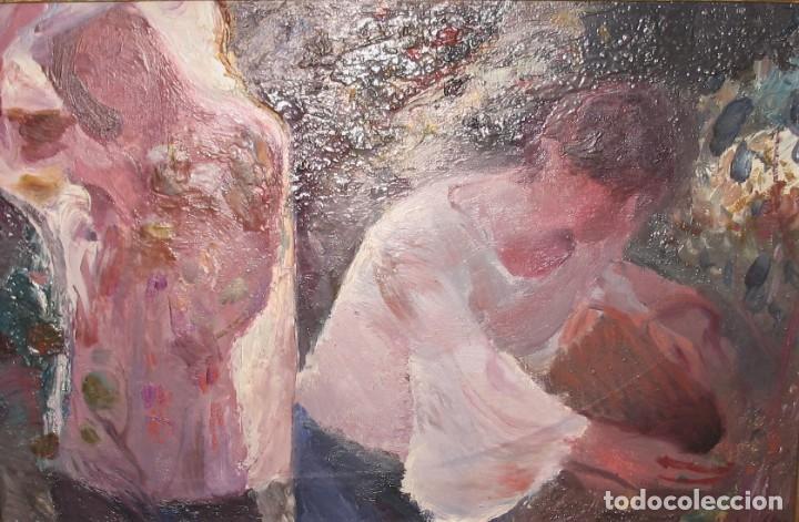 OLEO SOBRE LIENZO -MUCHACHAS EN EL JARDÍN- POR JOAN BELTRAN BOFILL [1939-2009] (Arte - Pintura - Pintura al Óleo Contemporánea )