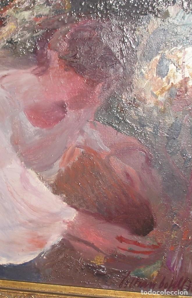 Arte: Oleo sobre lienzo -Muchachas en el jardín- por Joan Beltran Bofill [1939-2009] - Foto 5 - 194513252