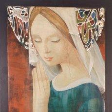 Arte: VIRGEN MARIA. ÓLEO SOBRE PLANCHA DE ESTUCO. MARIA ROSA GARCIA. SIGLO XX. . Lote 194673945
