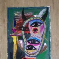 Arte: OBRA ARTISTA GELO TARRAGONA PINTURA Y COLAGE SOBRE HOJA PAPEL. Lote 194677785