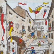 Arte: CARLES VIVÓ I SIQUÉS (SALT, GIRONA, 1930-2005) - CUESTA DE SANT DOMÈNEC,GERONA.FIRMADO.1988.. Lote 194670696