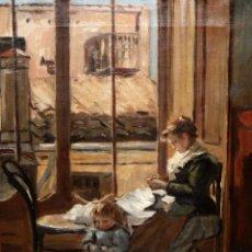 Arte: LAMBERTO ALONSO TORRES (GODELLA, VALENCIA, 1863 - 1929) OLEO SOVBRE TELA. INTERIOR . Lote 194679090
