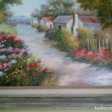 Arte: PAISAJE SOBRE LIENZO,ENMARCADO EN MARCO DE ESTILO DE GRAN CALIDAD.. Lote 194680895