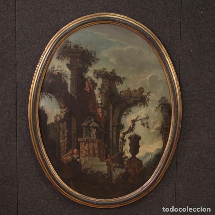 ANTIGUA PINTURA ITALIANA DE PAISAJE CON RUINAS Y PERSONAJES DEL SIGLO XVIII (Arte - Pintura - Pintura al Óleo Antigua siglo XVIII)