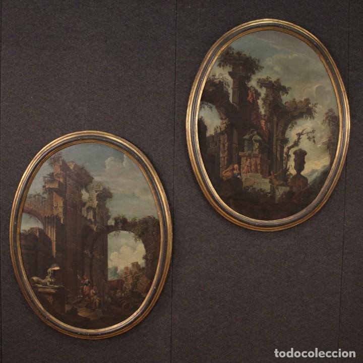 Arte: Antigua pintura italiana de paisaje con ruinas y personajes del siglo XVIII - Foto 2 - 194690955