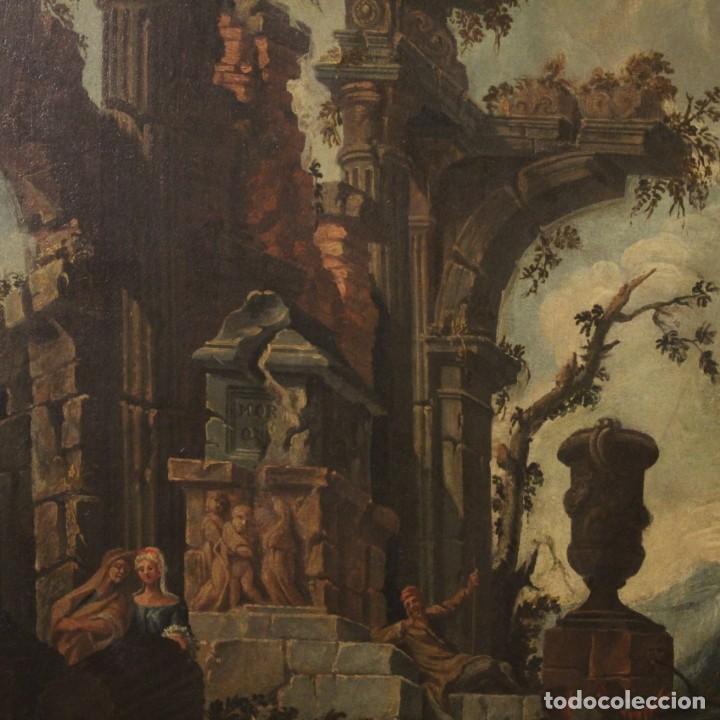 Arte: Antigua pintura italiana de paisaje con ruinas y personajes del siglo XVIII - Foto 3 - 194690955