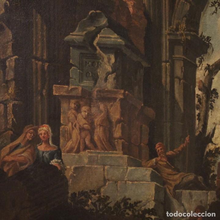 Arte: Antigua pintura italiana de paisaje con ruinas y personajes del siglo XVIII - Foto 4 - 194690955