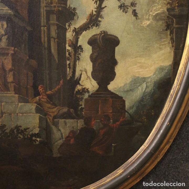 Arte: Antigua pintura italiana de paisaje con ruinas y personajes del siglo XVIII - Foto 5 - 194690955