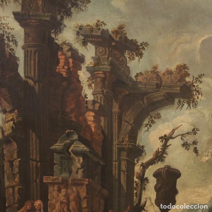 Arte: Antigua pintura italiana de paisaje con ruinas y personajes del siglo XVIII - Foto 6 - 194690955