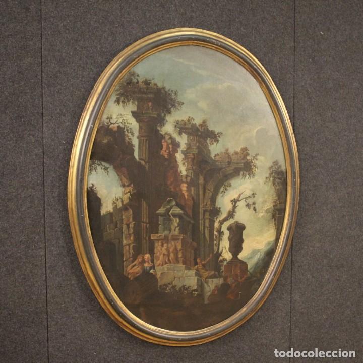 Arte: Antigua pintura italiana de paisaje con ruinas y personajes del siglo XVIII - Foto 7 - 194690955
