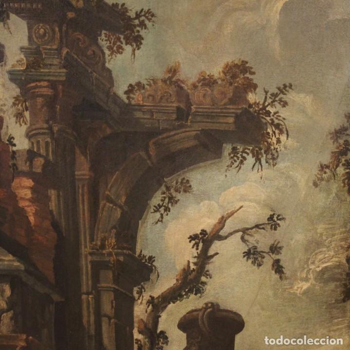 Arte: Antigua pintura italiana de paisaje con ruinas y personajes del siglo XVIII - Foto 8 - 194690955