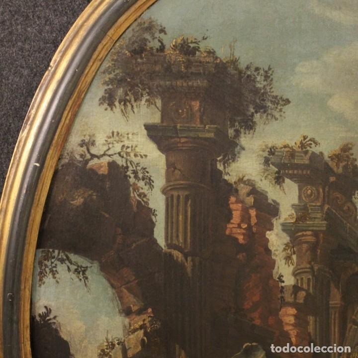 Arte: Antigua pintura italiana de paisaje con ruinas y personajes del siglo XVIII - Foto 9 - 194690955