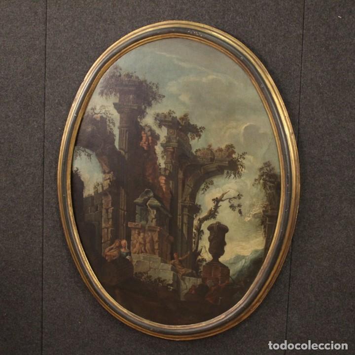 Arte: Antigua pintura italiana de paisaje con ruinas y personajes del siglo XVIII - Foto 10 - 194690955