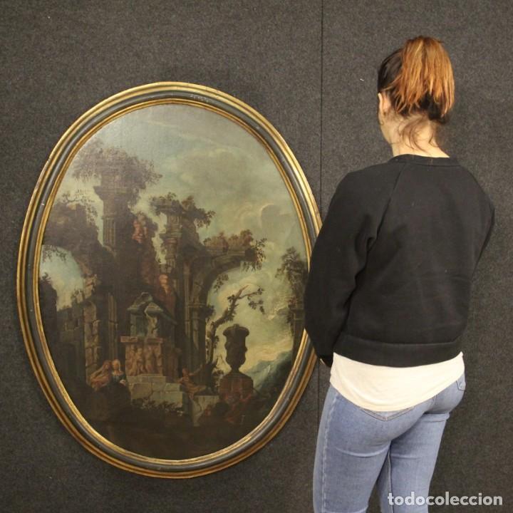 Arte: Antigua pintura italiana de paisaje con ruinas y personajes del siglo XVIII - Foto 12 - 194690955