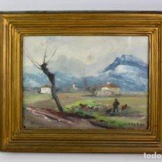 Arte: OLEO SOBRE TABLA, PAISAJE OLOT, FIRMADO V.SOLE JORBA. S.XX. . Lote 194702032
