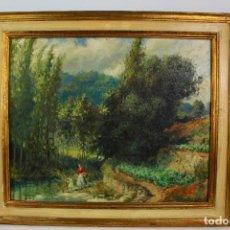 Arte: OLEO SOBRE LIENZO, SAN QUIRZE SAFAJA. FIRMADO J.MESTRES CABANES. 1953. Lote 194702685