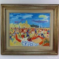 Arte: OLEO SOBRE LIENZO ADHERIDO A TABLA, SITGES. FIRMADO RAMON SANVISENS. S.XX.. Lote 194705447