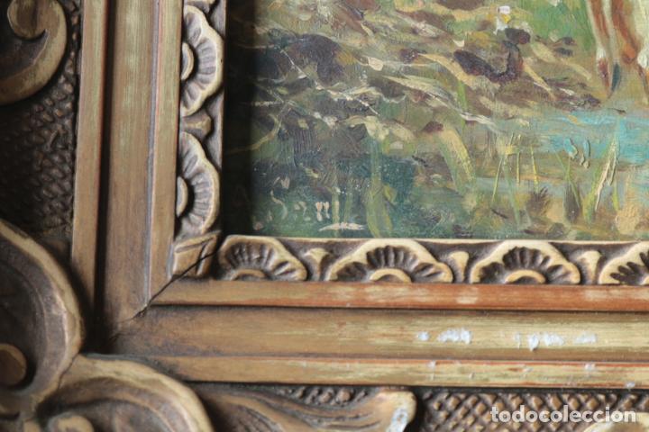 Arte: Oleo sobre tabla, Vacas en el rio. Oil on wood, cows near the river. - Foto 2 - 194717528