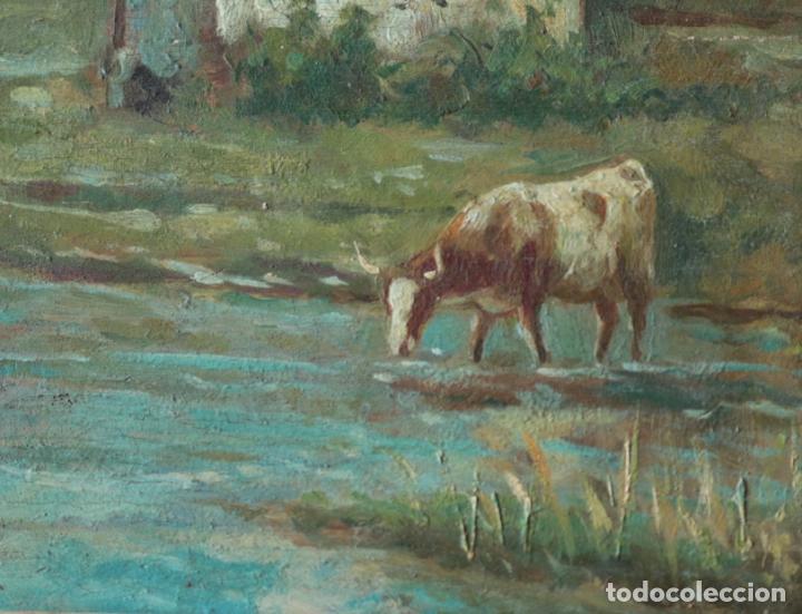 Arte: Oleo sobre tabla, Vacas en el rio. Oil on wood, cows near the river. - Foto 4 - 194717528