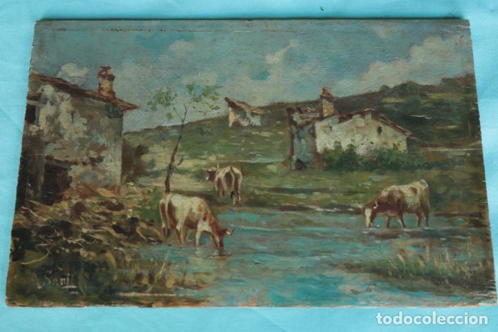Arte: Oleo sobre tabla, Vacas en el rio. Oil on wood, cows near the river. - Foto 7 - 194717528