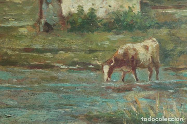 Arte: Oleo sobre tabla, Vacas en el rio. Oil on wood, cows near the river. - Foto 11 - 194717528
