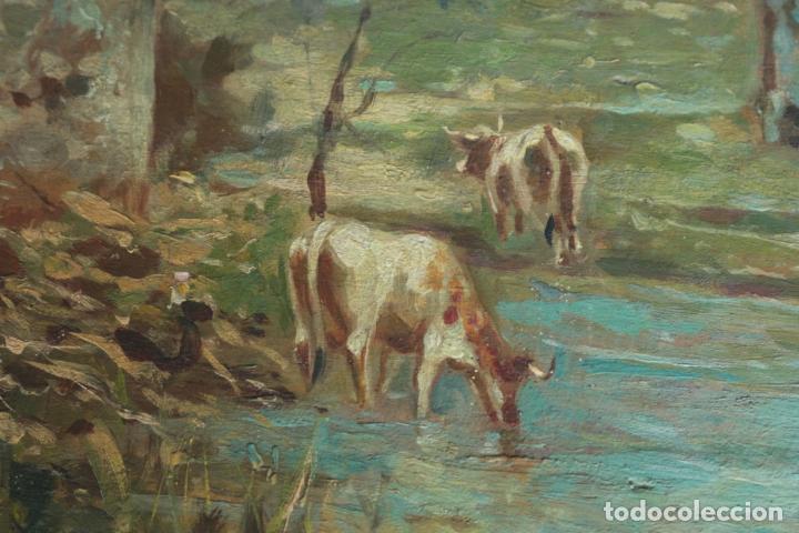 Arte: Oleo sobre tabla, Vacas en el rio. Oil on wood, cows near the river. - Foto 12 - 194717528