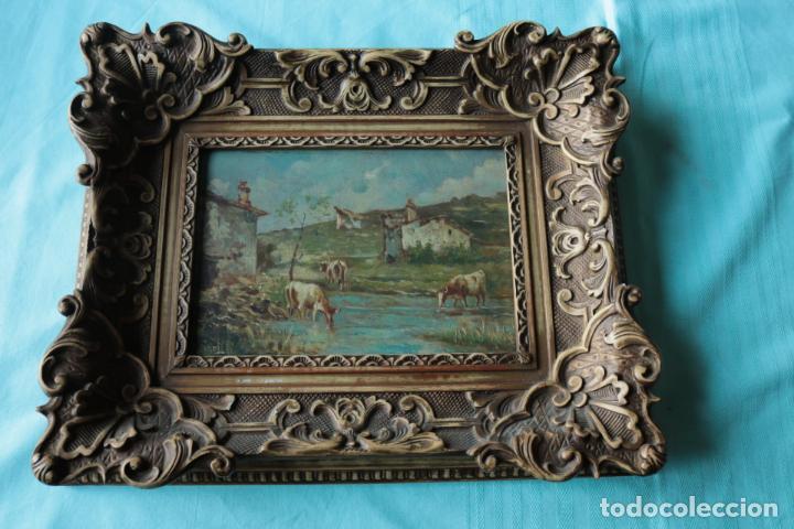 Arte: Oleo sobre tabla, Vacas en el rio. Oil on wood, cows near the river. - Foto 13 - 194717528