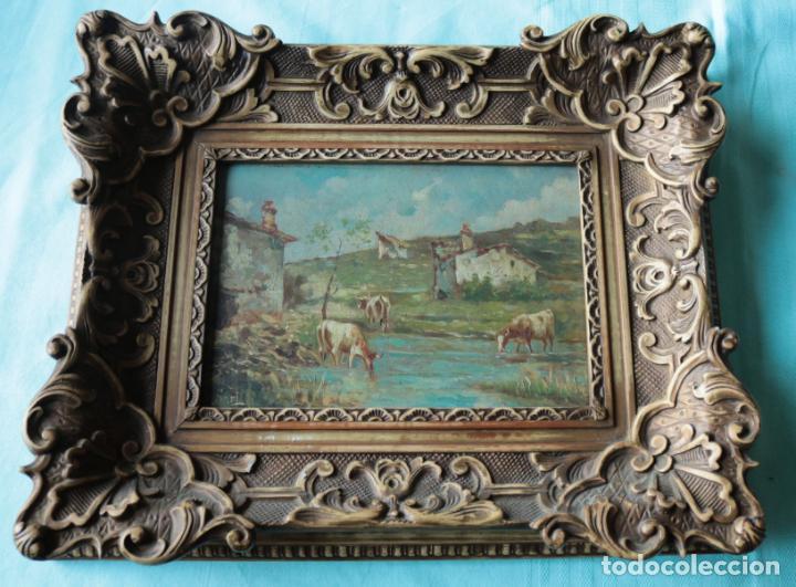 OLEO SOBRE TABLA, VACAS EN EL RIO. OIL ON WOOD, COWS NEAR THE RIVER. (Arte - Pintura - Pintura al Óleo Moderna siglo XIX)