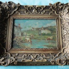 Arte: OLEO SOBRE TABLA, VACAS EN EL RIO. OIL ON WOOD, COWS NEAR THE RIVER.. Lote 194717528