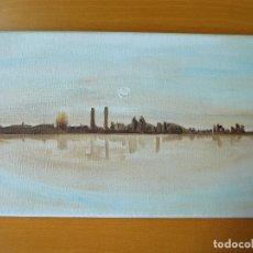 Arte: PEQUEÑO LIENZO 19 X 33 SKYLINE BARCELONA. Lote 194719826