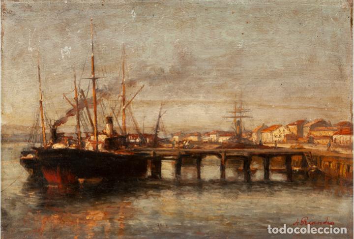 AGUSTÍN RIANCHO. PUERTO CHICO. SANTANDER. BARCO DE VAPOR (Arte - Pintura - Pintura al Óleo Moderna siglo XIX)