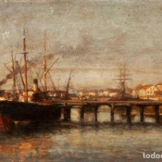 Arte: AGUSTÍN RIANCHO. PUERTO CHICO. SANTANDER. BARCO DE VAPOR. Lote 194730761