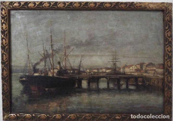 Arte: Agustín Riancho. Puerto Chico. Santander. Barco de Vapor - Foto 3 - 194730761
