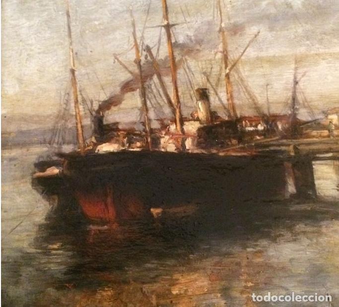 Arte: Agustín Riancho. Puerto Chico. Santander. Barco de Vapor - Foto 4 - 194730761