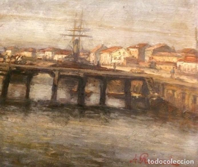 Arte: Agustín Riancho. Puerto Chico. Santander. Barco de Vapor - Foto 5 - 194730761
