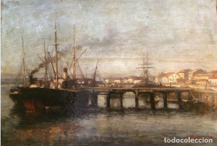 Arte: Agustín Riancho. Puerto Chico. Santander. Barco de Vapor - Foto 6 - 194730761