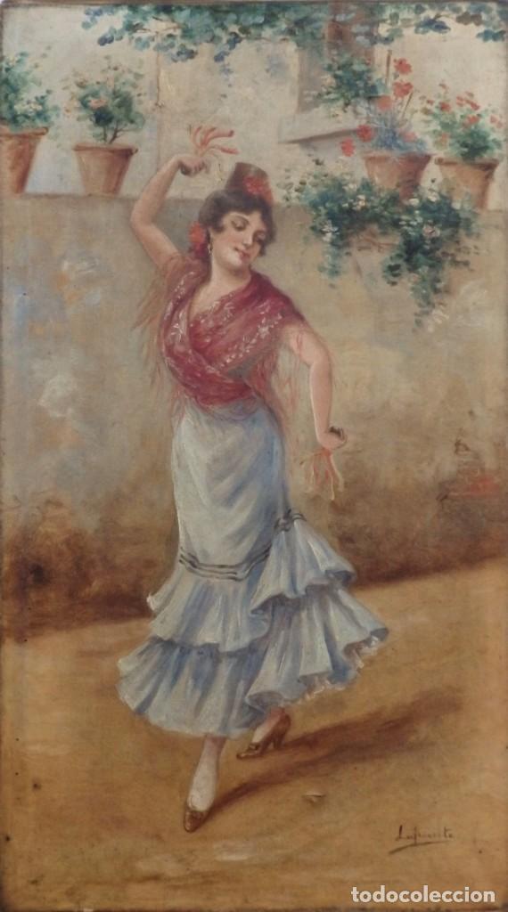 MANOLA CON CASTAÑUELAS. FÉLIX LAFUENTE TOBEÑAS (1865-1927) . ÓLEO SOBRE LIENZO. MED: 70 X 40 CM. (Arte - Pintura - Pintura al Óleo Moderna siglo XIX)