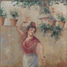 Arte: MANOLA CON CASTAÑUELAS JAIME LAFUENTE SANSANO (ELCHE 1858-1899). ÓLEO SOBRE LIENZO. MED: 70 X 40 CM.. Lote 194734560