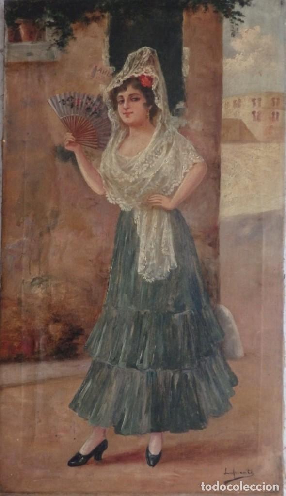 MANOLA CON ABANICO. ÓLEO SOBRE LIENZO. FIRMA DE FÉLIX LAFUENTE TOBEÑAS (1865-1927). (Arte - Pintura - Pintura al Óleo Moderna siglo XIX)