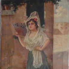 Arte: MANOLA CON ABANICO. ÓLEO SOBRE LIENZO. FIRMA DE JAIME LAFUENTE SANSANO (ELCHE 1858-1899).. Lote 194734896