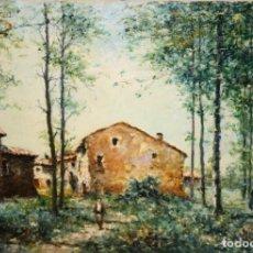 Arte: MARIO GINESTA RUIZ (BARCELONA, 1923 - 2003) OLEO SOBRE LIENZO.PAISAJE BOSCOSO. Lote 194737730
