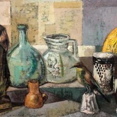Arte: ILEGIBLE DE MEDIADOS DEL SIGLO XX. OLEO SOBRE TELA. BODEGON. Lote 194752997