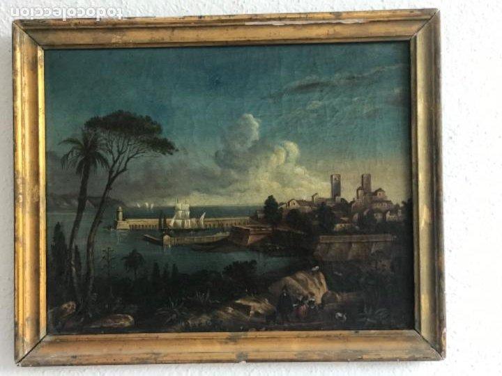 IMPORTANTE OLEO SOBRE LIENZO - ESCUELA ITALIANA FINALES DEL SIGLO XVII MARINA. (Arte - Pintura - Pintura al Óleo Antigua siglo XVII)