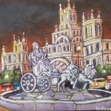 Arte: PINTURA DIBUJO ORIGINAL, PINTADO A MANO DE JOSE G. ALCALA: LA CIBELES, MADRID.. Lote 194777705