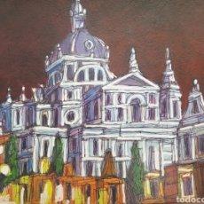 Arte: PINTURA DIBUJO ORIGINAL, PINTADO A MANO DE JOSE G. ALCALA: CATEDRAL LA ALMUDENA (NOCTURNO), MADRID. Lote 194780833