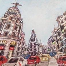 Arte: PINTURA DIBUJO ORIGINAL, PINTADO A MANO DE JOSE G. ALCALA: OJO DE PEZ GRAN VIA, MADRID.. Lote 194782103