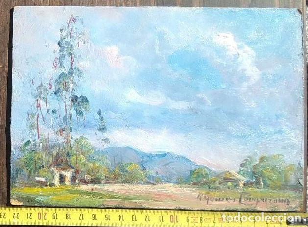 PAISAJE. ÓLEO SOBRE TABLA. RICARDO GÓMEZ CAMPUZANO. (1891-1981 COLOMBIA) (Arte - Pintura - Pintura al Óleo Moderna sin fecha definida)