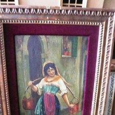 Arte: ÓLEO SOBRE TABLA. MUJER ACARREANDO CALDEROS. FIRMADO N. FARING. MIDE: 80X49. POSIBLEMENTE DEL XIX.. Lote 194789260