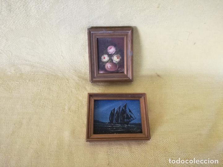 DOS PEQUEÑOS CUADROS PINTADOS A MANO Y ENMARCADOS EN MADERA, ÓLEOS (Arte - Pintura - Pintura al Óleo Contemporánea )